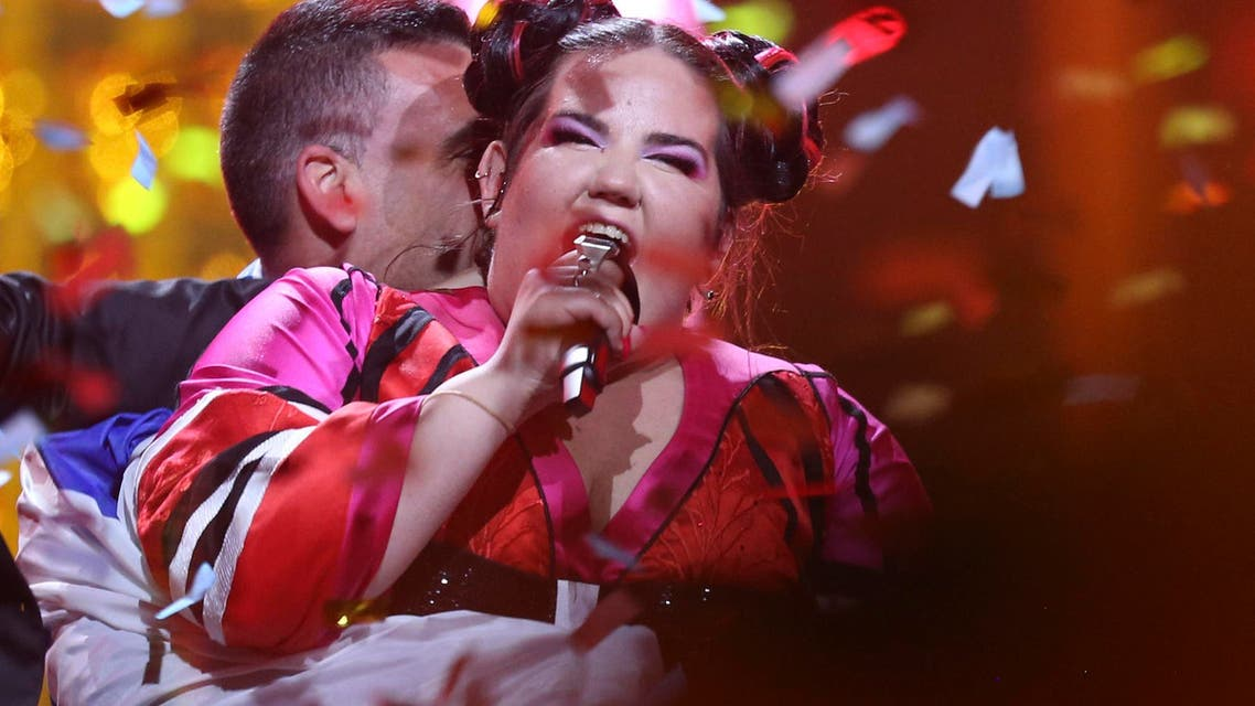 Netta from Israel celebrates after winning the Eurovision song contest in Lisbon, Portugal, Saturday, May 12, 2018. (AP)