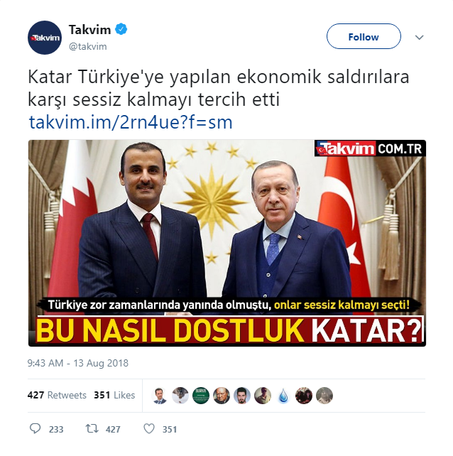 The newspaper stated that Turkey has sent dozens of cargo flights to Qatar and has stood side by side with Doha during the boycott. (Takvim)