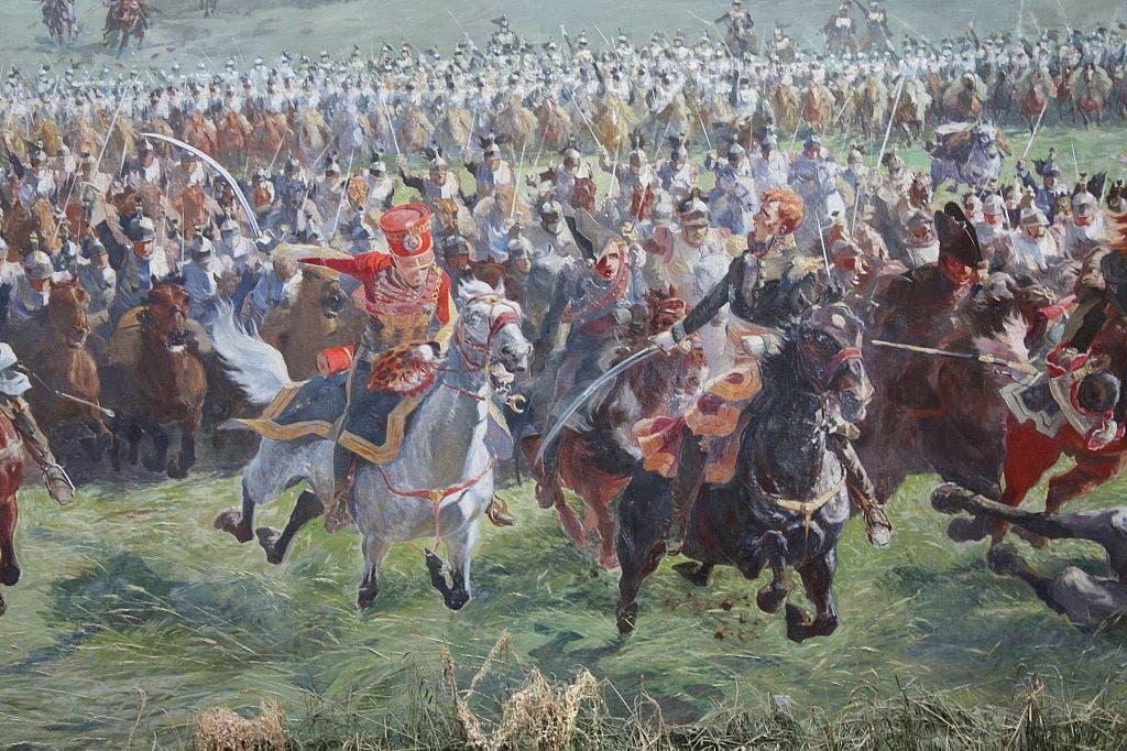 لوحة زيتية تجسد معركة واترلو