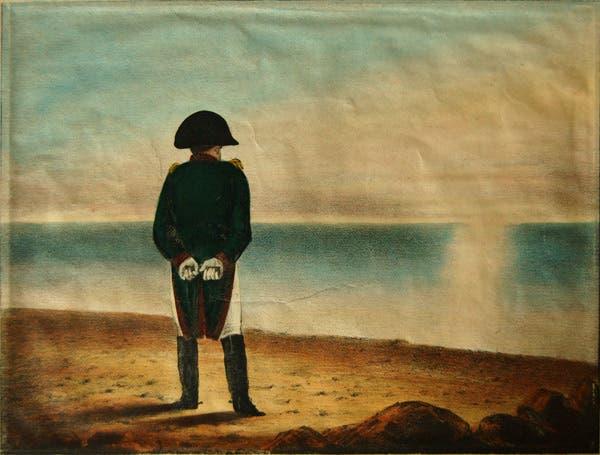 رسم تخيلي لنابليون بونابرت وهو بمنفاه بجزيرة ألبا