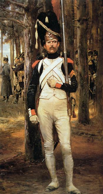 لوحة زيتية تجسد أحد الجنود الفرنسيين العاملين تحت أوامر نابليون بونابرت