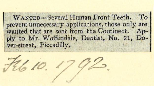 عرض قدمه طبيب أسنان بريطاني سنة 1792 للحصول على الأسنان البشرية