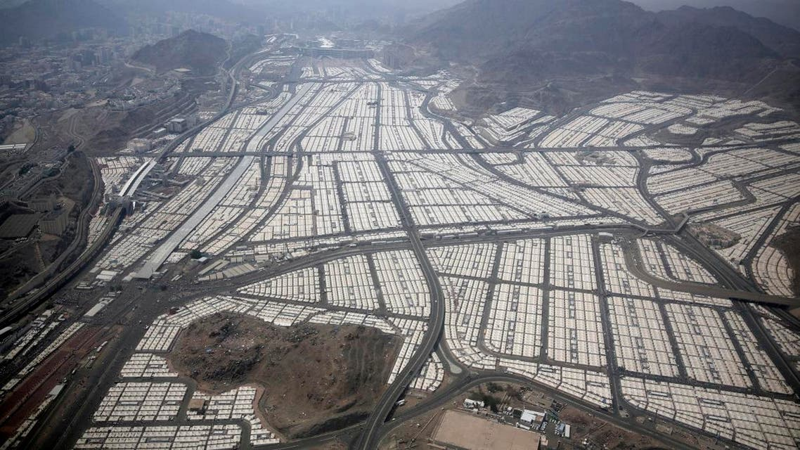 An aerial view of Mina where the Muslim pilgrims stay for three days to cast stones at three huge stone pillars in the symbolic stoning of the devil, outside the holy city of Mecca. (AP)