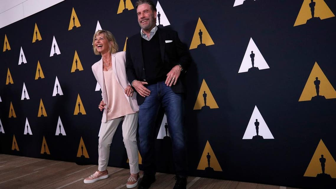 Olivia Newton-John and John Travolta during the 40th anniversary special screening hosted by the American Academy of Film Science and Arts in Beverly Hills on August 15, 2018. (Reuters)