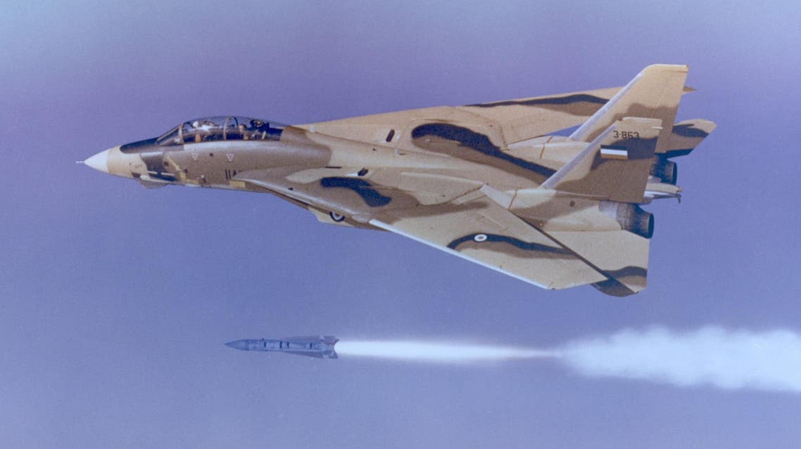 Undated handout photo provided by Northrup Grumman shows an Iranian F-14 firing a Phoenix missile. (AP)