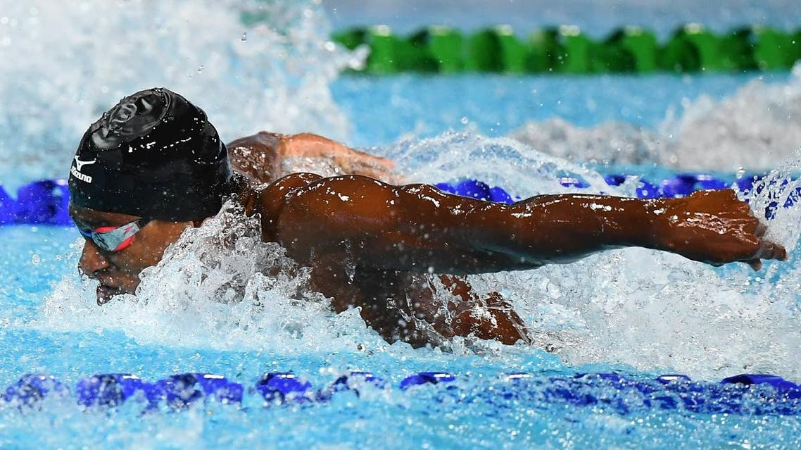 India's Sajan Prakash competes during the swimming men's 100m butterfly semifinal during the 2018 Gold Coast Commonwealth Games at the Optus Aquatic Centre in the Gold Coast on April 8, 2018. (AFP)