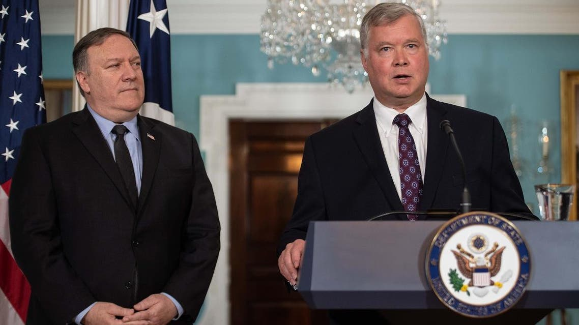 New US special representative to North Korea Steve Biegun speaks after being named by Secretary of State Mike Pompeo (L) at the State Department in Washington, DC, on August 23, 2018. (AFP)
