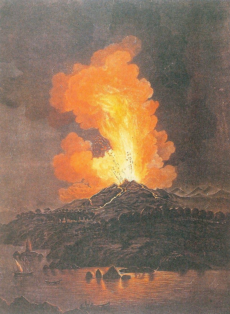 لوحة زيتية للفنان ألسندرو دانا تجسد ثورة بركان إتنا بصقلية عام 1766