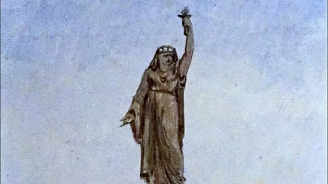 رسم تخيلي للتمثال الذي اقتح بارتولدي إنشاءه بمصر