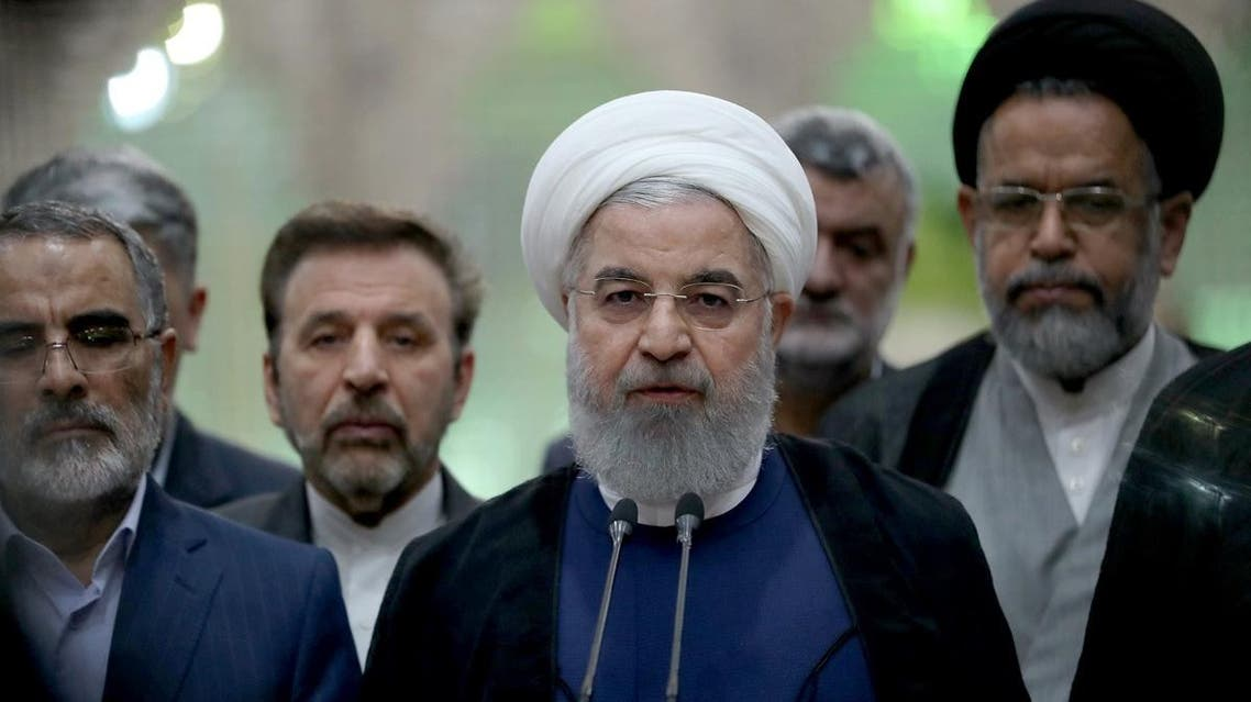 Iranian President Hassan Rouhani delivering a speech at the shrine of the revolutionary leader Khomeini in southern Tehran. (AFP)