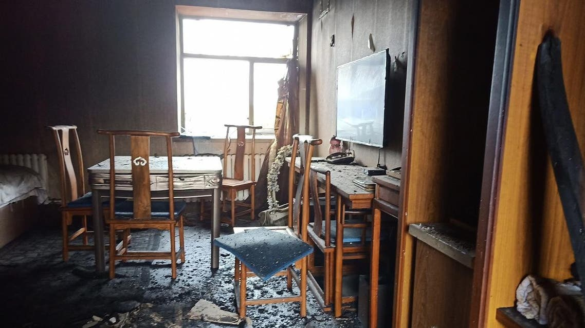 A view of a room after a fire at a hotel in Harbin, China's northeastern Heilongjiang province, on August 25, 2018. (AFP)