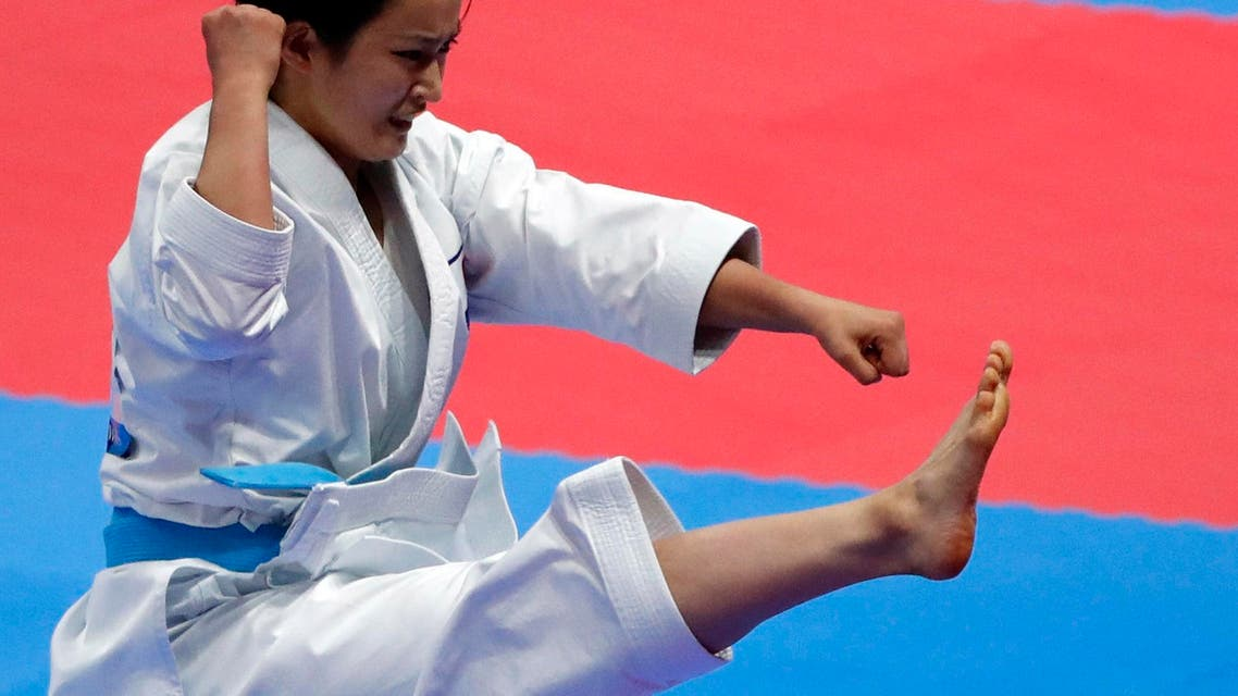 Karate - 2018 Asian Games - Women's Kata Final Contest - JCC - Plenary Hall - Jakarta, Indonesia - August 25, 2018 - Kiyou Shimizu of Japan in action. (Reuters)
