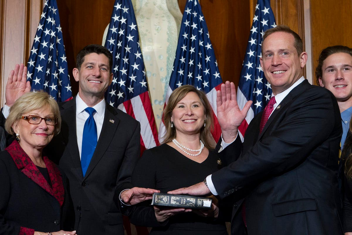 House Speaker Paul Ryan of Wis. administers the House oath of office to Rep. Ted Budd, R-N.C., during a mock swearing in ceremony on Capitol Hill in Washington, Tuesday, Jan. 3, 2017. (AP)