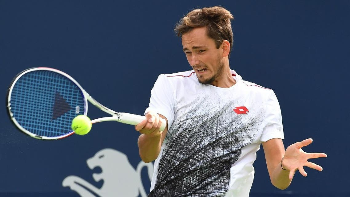 Daniil Medvedev of Russia plays a shot against Alexander Zverev in the Rogers Cup tennis tournament at Aviva Centre. (Dan Hamilton/USA TODAY Sports)