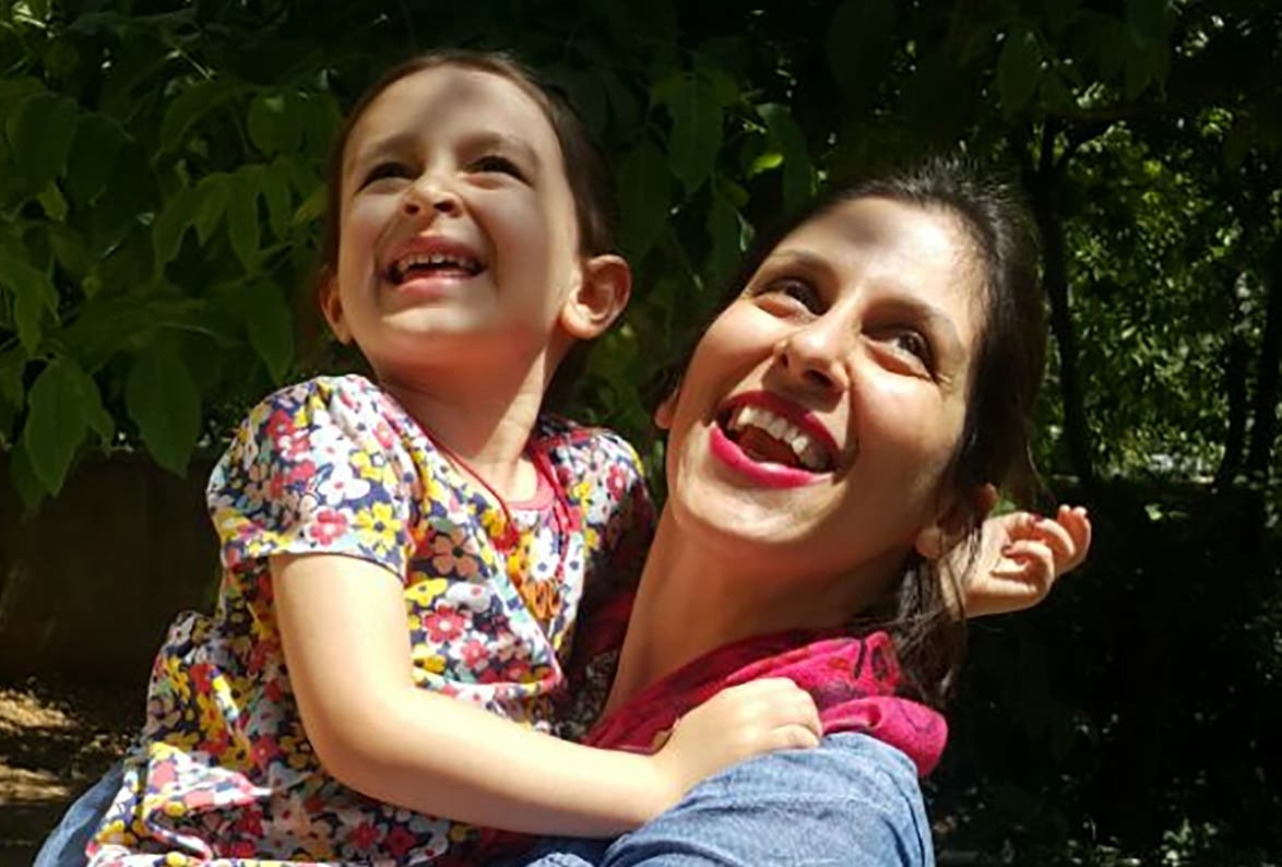 Nazanin Zaghari-Ratcliffe (R) embracing her daughter Gabriella in Damavand, Iran following her release from prison for three days. (Reuters)