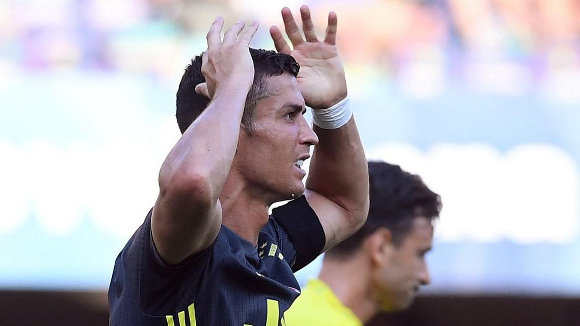 Juventus' Cristiano Ronaldo reacts during the game. (Reuters)