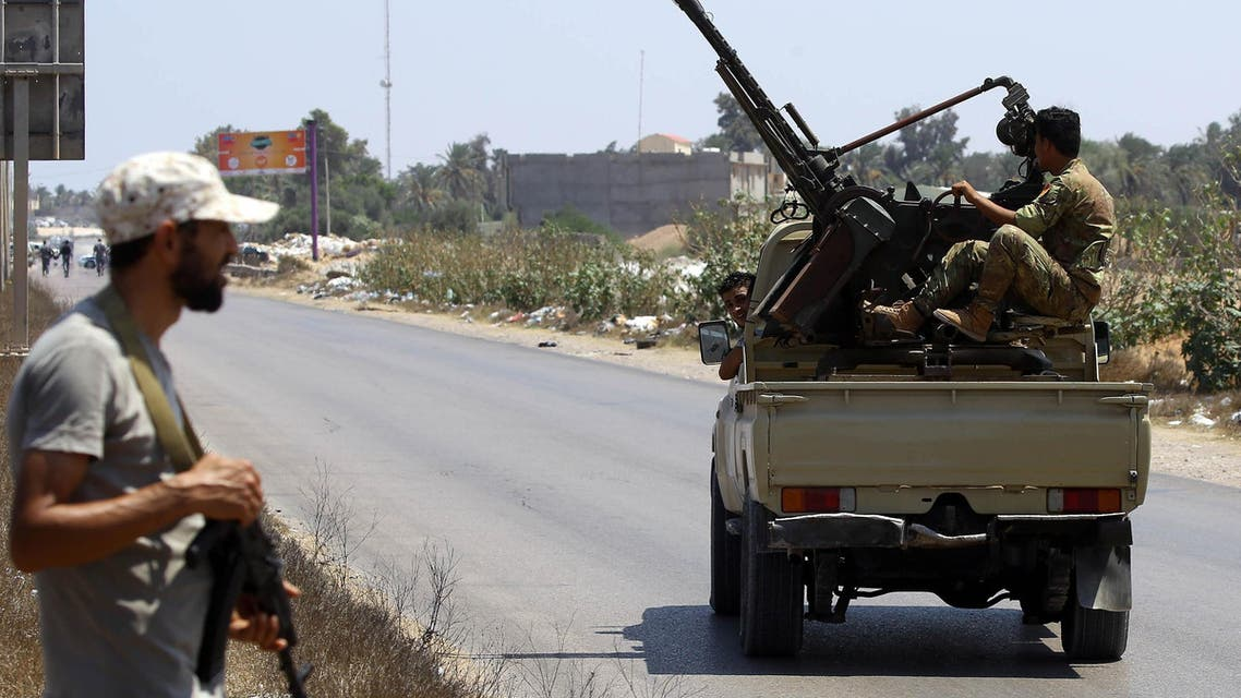 Libyan security forces patrol on August 23, 2018 near the site of an attack on a checkpoint in the city of Zliten, 170 km east of the capital Tripoli. (AFP)