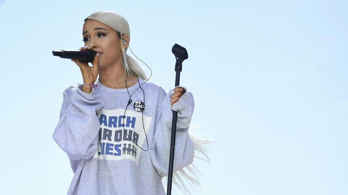Singer Ariana Grande performs during the March for Our Lives Rally in Washington, DC. (AFP)