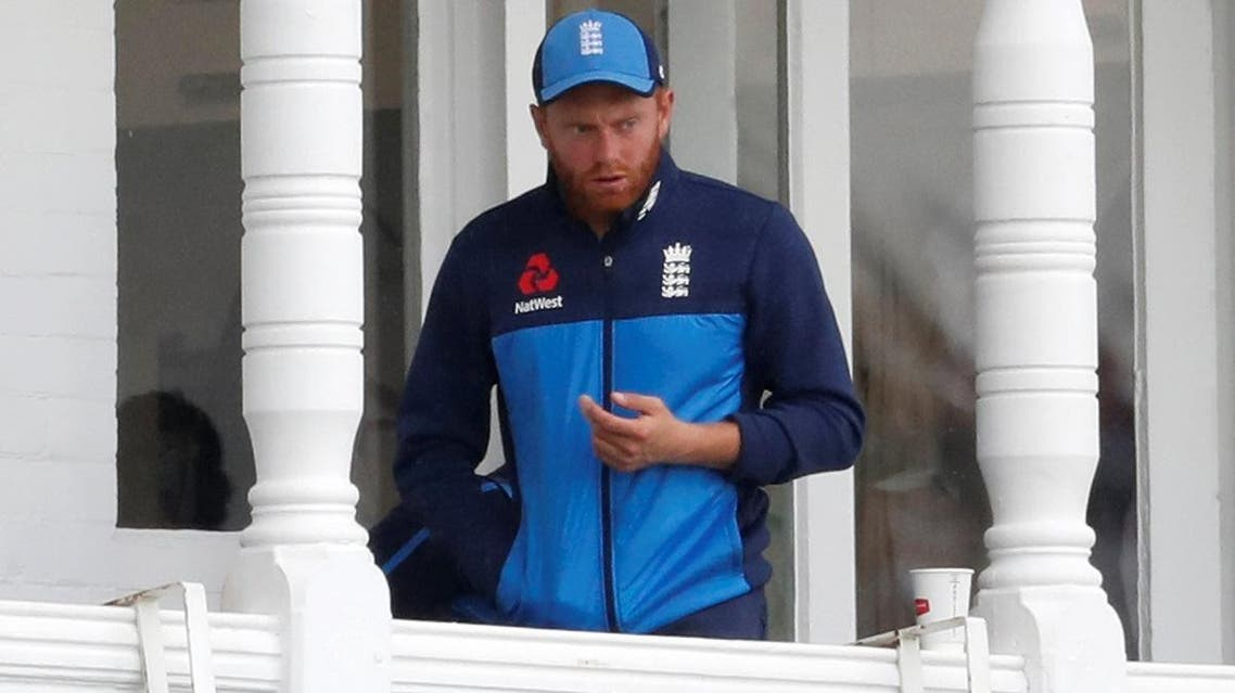 England's Jonny Bairstow watches on from the balcony after sustaining an injury at Trent Bridge, Nottingham, Britain. (Reuters)