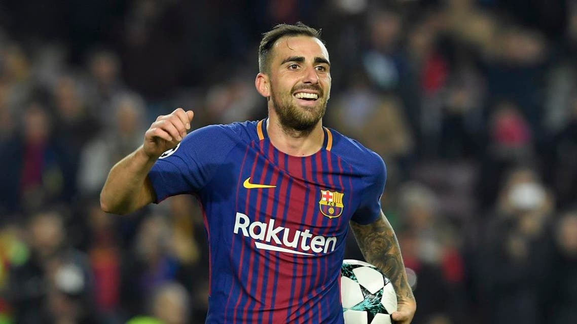 Barcelona's Spanish forward Paco Alcacer celebrates after scoring a second goal during the UEFA Champions League football match. (Reuters)