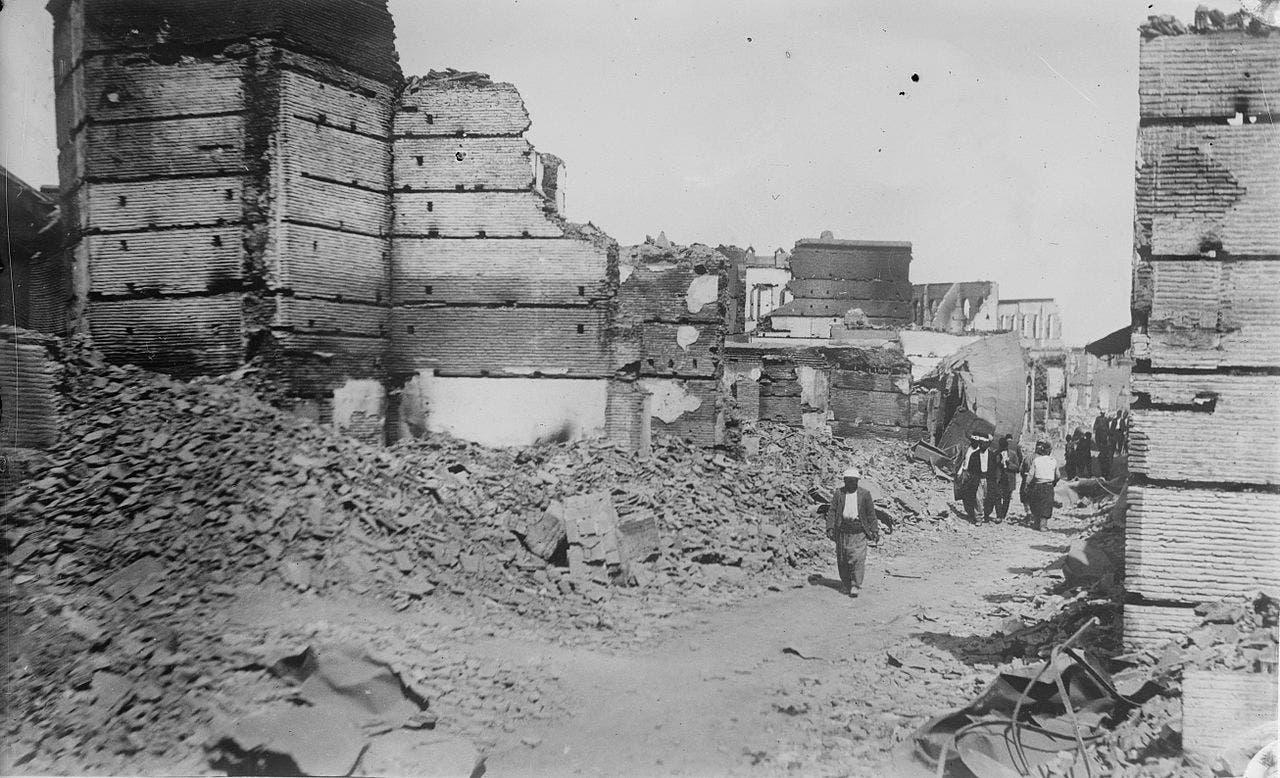 صورة لأحد أحياء الأرمن المدمرة بأضنة سنة 1909