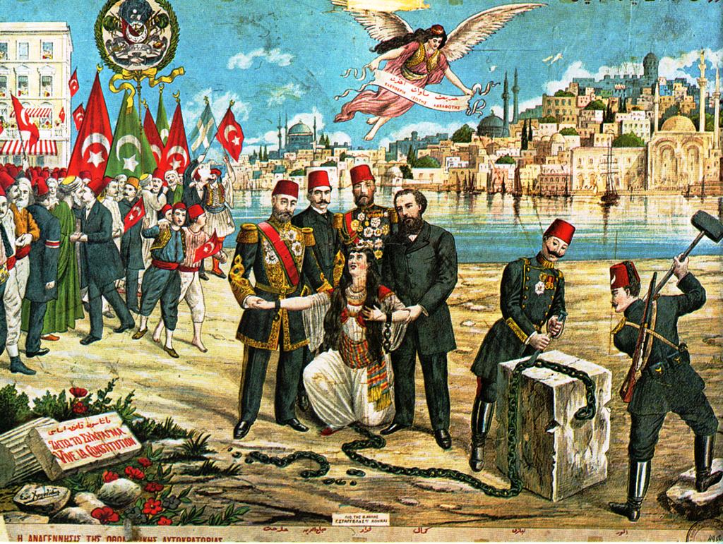 بطاقة بريدية عثمانية تخليدا لذكرى ثورة 1908 والتي أعادت العمل بالدستور