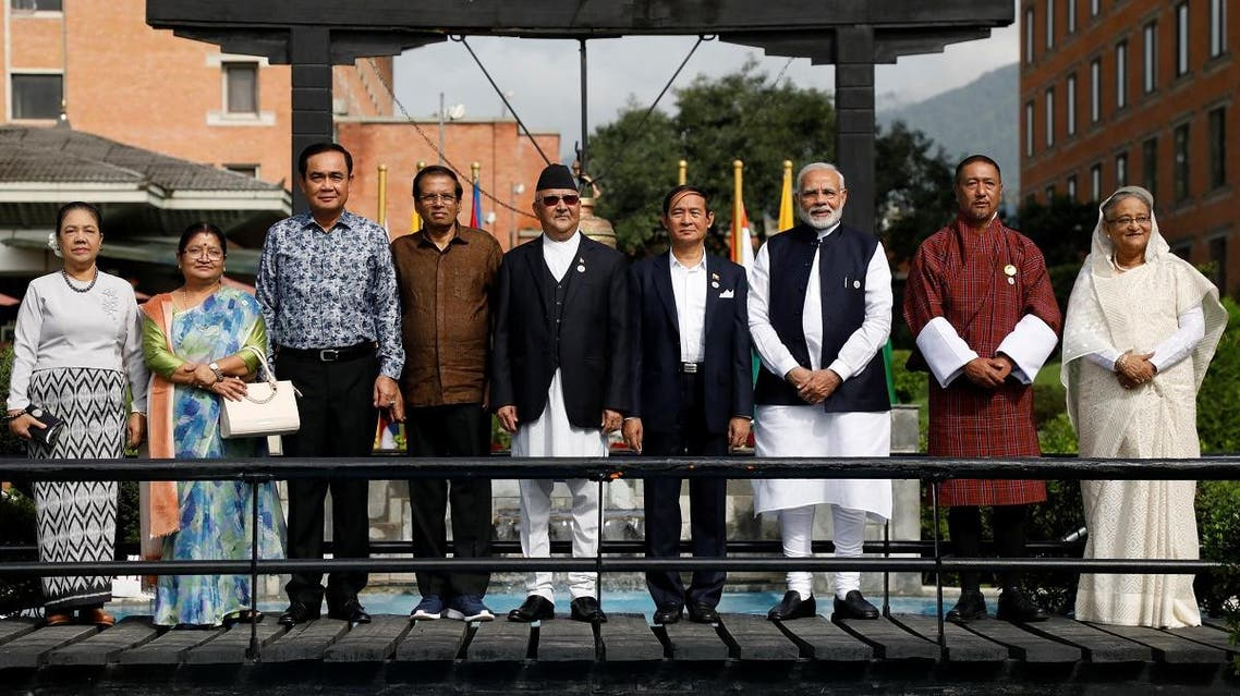 Leaders and their spouses pose for a group photo during the Bay of Bengal Initiative for Multi-Sectoral Technical and Economic Cooperation (BIMSTEC) summit in Kathmandu, Nepal, on August 31, 2018. (Reuters)