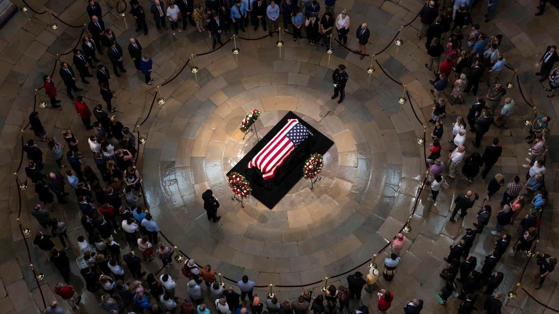 The late U.S. Sen. John McCain, R-Ariz., lies in state in the U.S. Capitol Rotunda Friday, Aug. 31, 2018, in Washington. (AP)