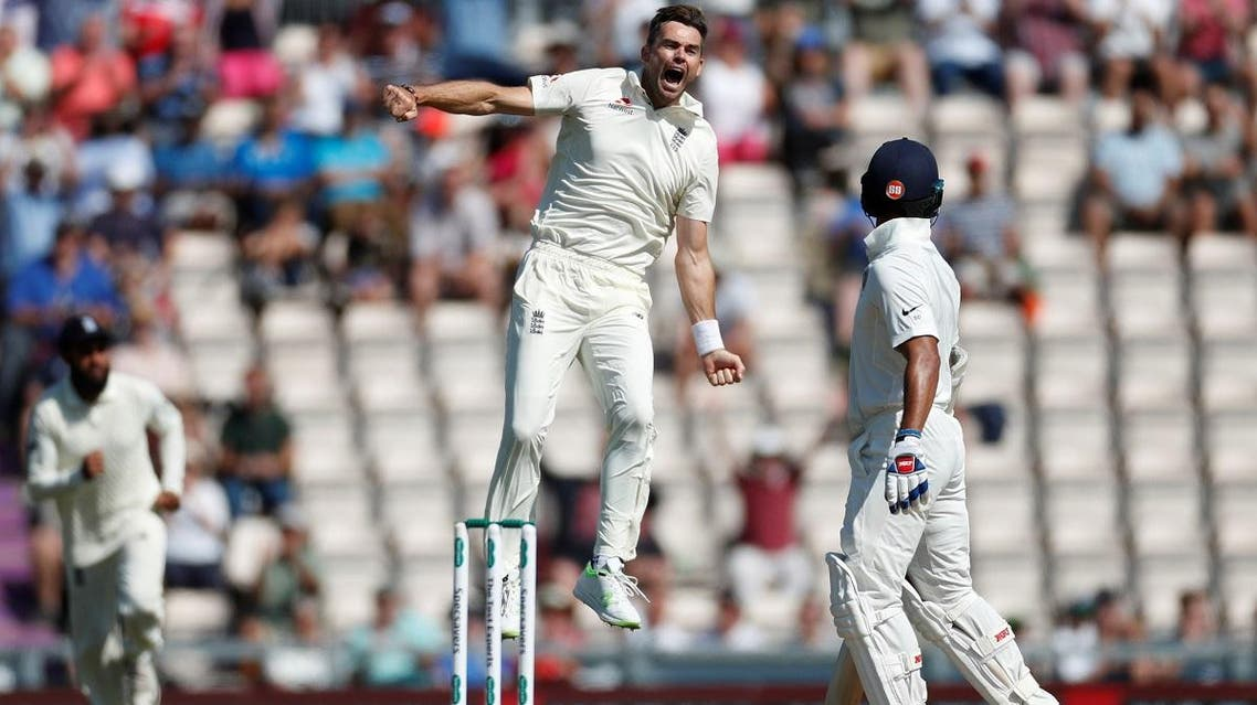 England's James Anderson celebrate the wicket of India's Shikhar Dhawan in the fourth Test at Ageas Bowl, West End, Britain, on September 2, 2018.  (Reuters)