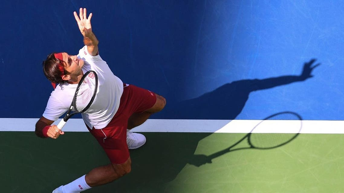 Roger Federer hits to Nick Kyrgios in a third round US Open match. (Reuters)