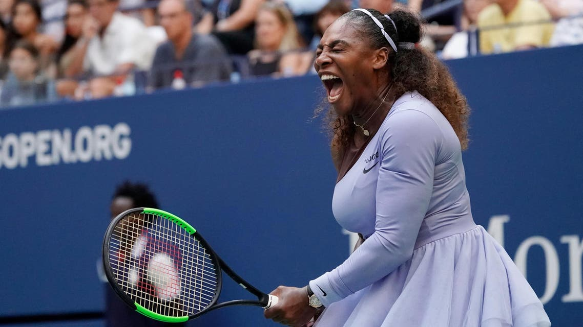 Serena Williams reacts to winning a game in the third set against Kaia Kanepi. (Reuters)