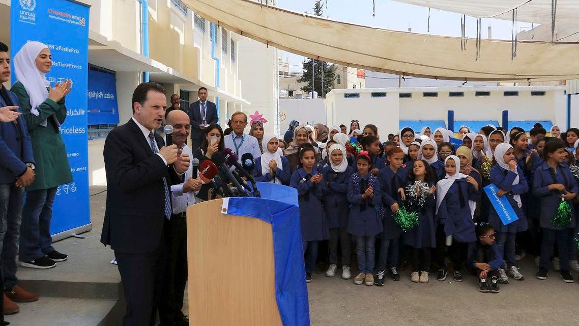 Pierre Krahenbuhl, Commissioner-General of the United Nations Relief and Works Agency for Palestine Refugees (UNRWA), speaks during a ceremony to mark the return to school at one of the UNRWA schools at a Palestinian refugee camp Al-Wehdat, in Amman, Jordan, Sunday, Sept. 2, 2018. (AP)