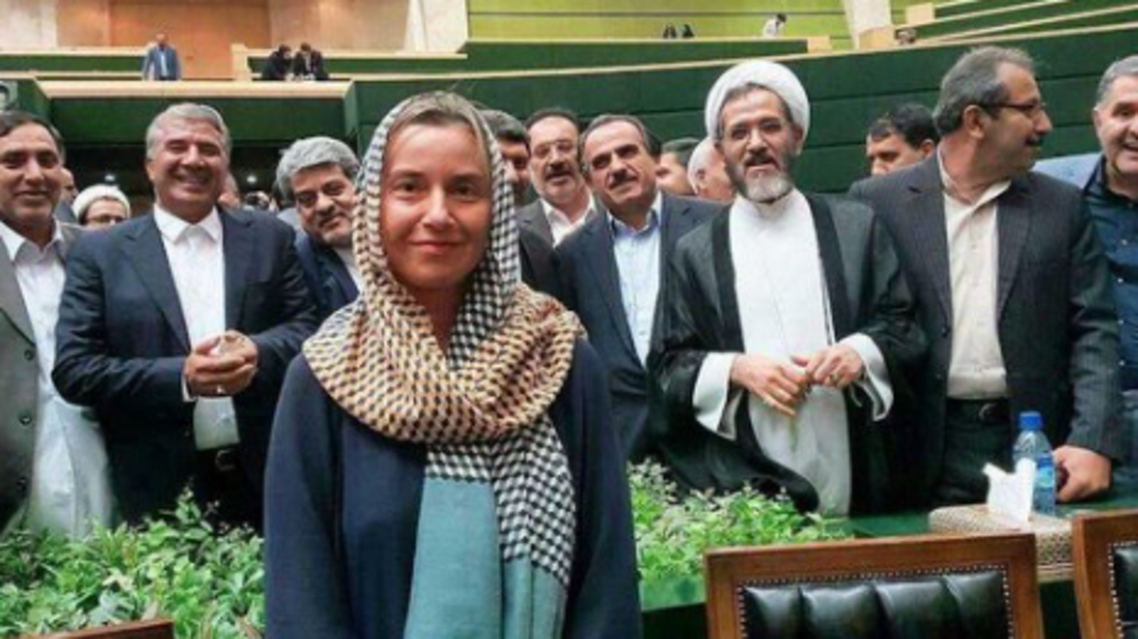 Mogherini with Iranian PMs. (Twitter)a