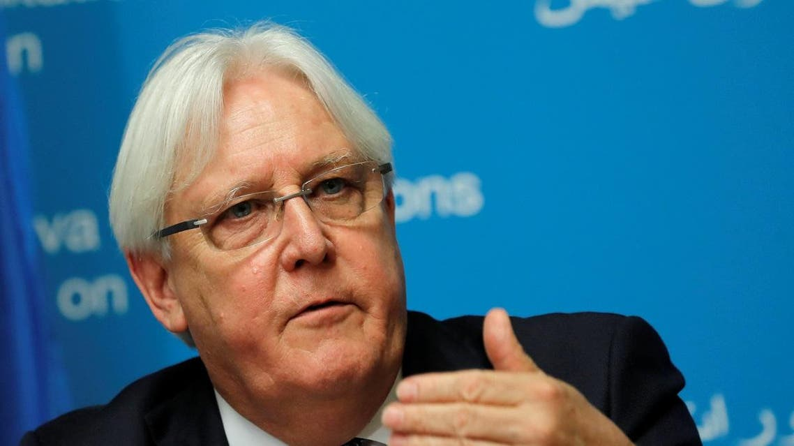 UN envoy Griffiths attends a news conference ahead of Yemen talks in Geneva. (Reuters)