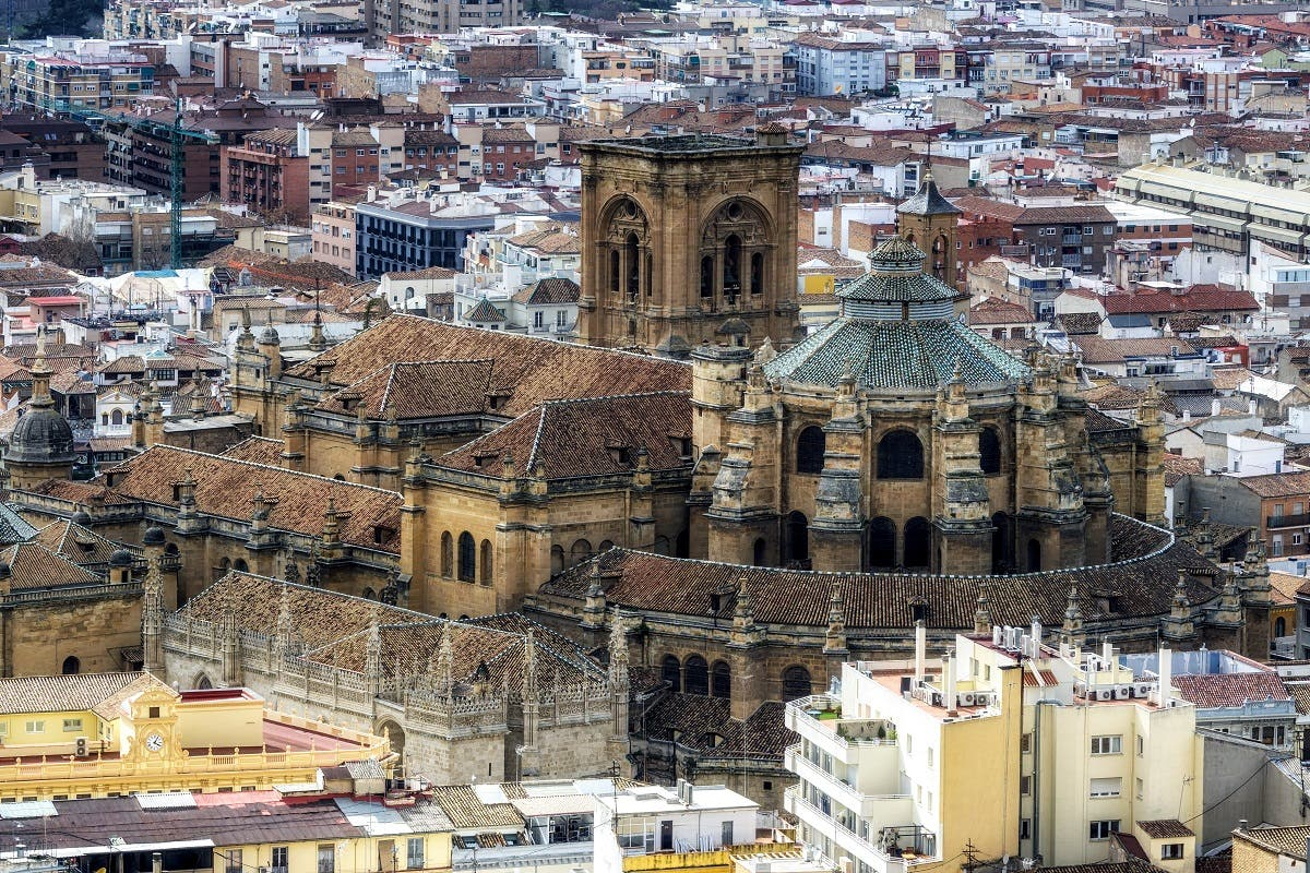 Granada cathedral viewed from Alcazaba in Alhambra palace. (Shutterstock)