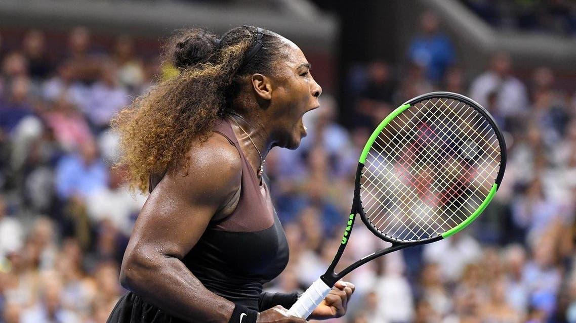 Serena Williams screams during a quarter-final match against Karolina Pliskova. (Reuters)