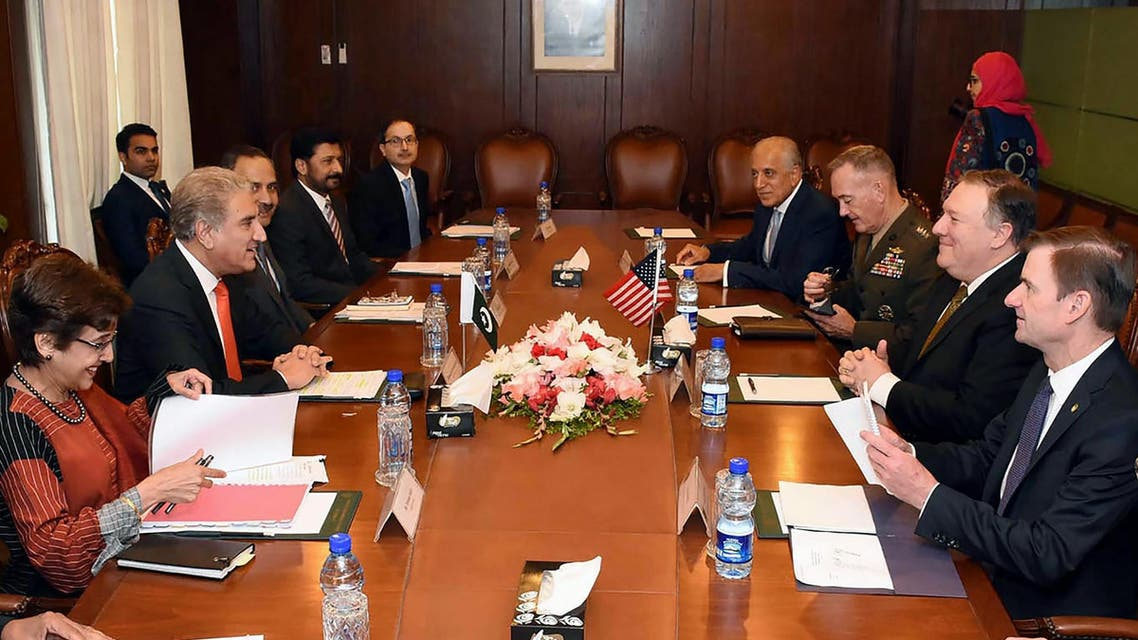 Pakistani Foreign Minister Shah Mahmood Qureshi (2nd L) meeting with US Secretary of State Mike Pompeo (2nd R) in Islamabad on September 5, 2018. (AFP)