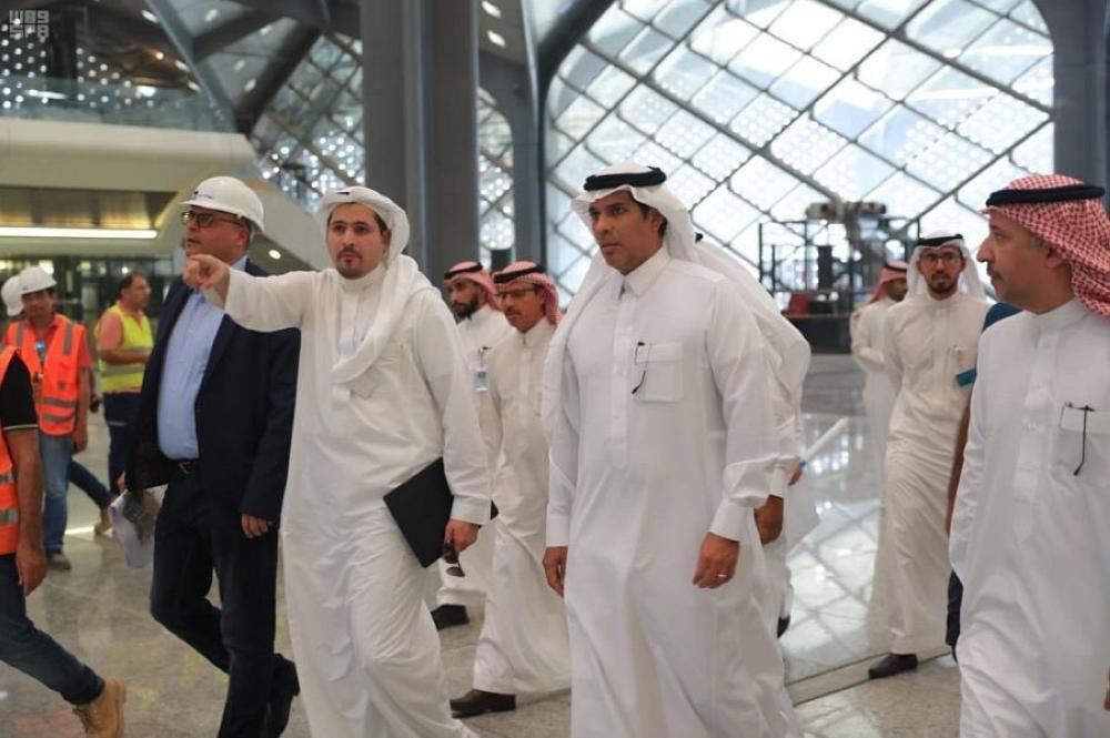 Saudi Minister of Transport travelled traveled on board the train between the Makkah and Jeddah. (SPA)