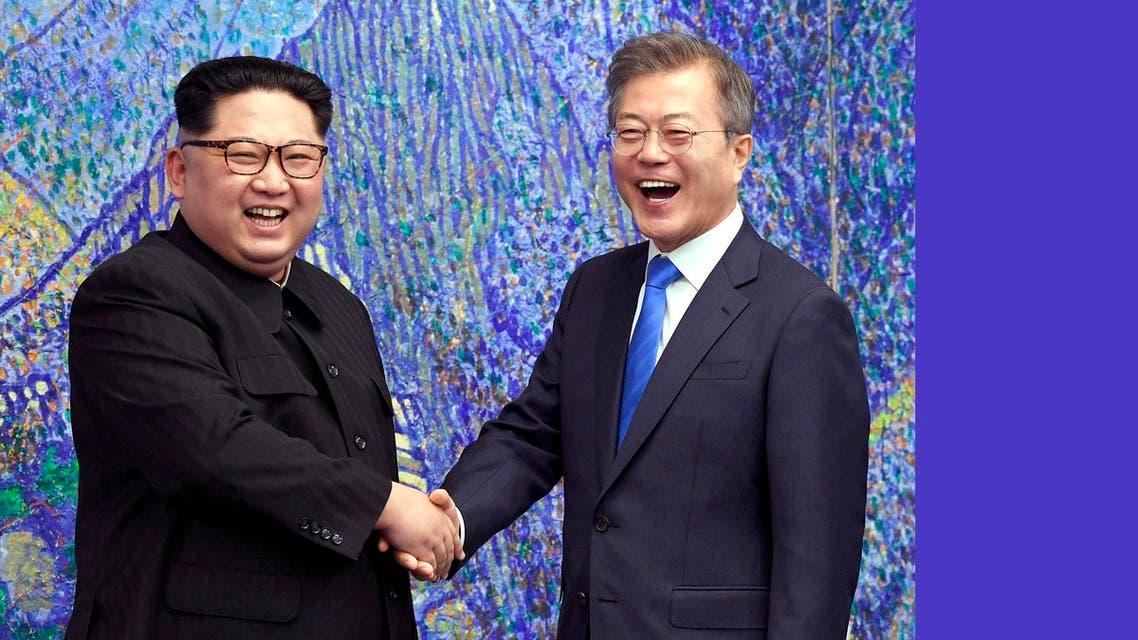 Kim Jong Un and Moon Jai-In korea. (AP)a