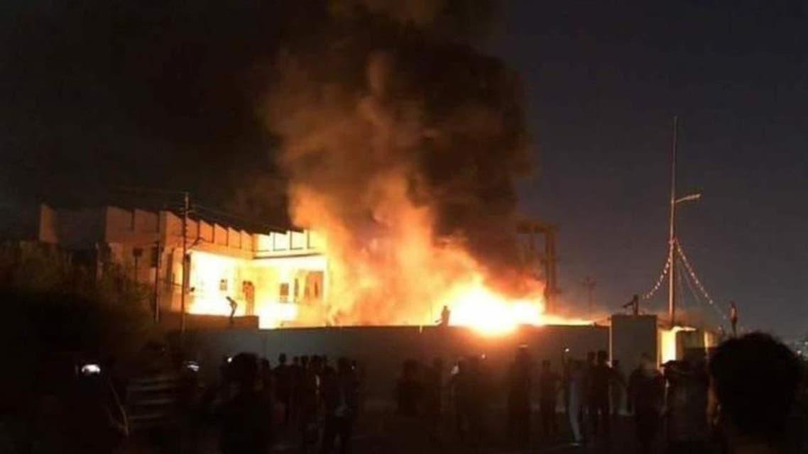Iranian-backed Asaib Ahl al-Haq militia offices burned in Basra (Supplied)