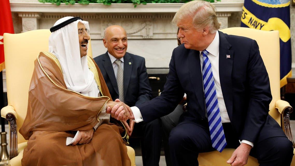 US President Donald Trump meets Kuwait's Emir Sabah al-Ahmad al-Jaber al-Sabah at the White House in Washington, on September 5, 2018. (Reuters)