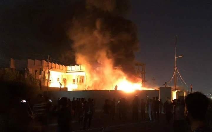 حرق مقر العصائب في البصرة