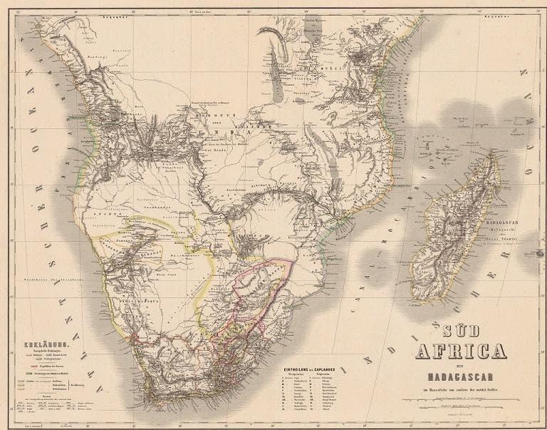 نقشهای از آفریقای جنوبی در سال 1860.. جزیره ماداگاسکار در سمت راست دیده میشود