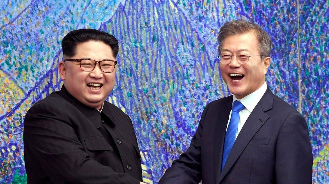 Kim Jong Un and Moon Jai-In korea. (AP)