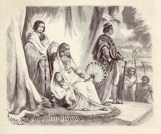 نقاشی تخیلی از راناوالونای اول، نشسته بر تخت پادشاهی