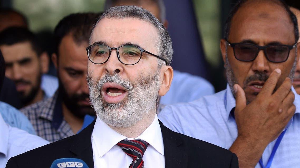 Mustafa Sanalla addressing a press conference in Tripoli on July 16, 2018. (AFP)