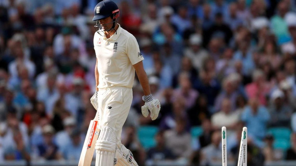 England's Alastair Cook looks dejected as he walks off the pitch after losing his wicket at the Oval, London, on September 7, 2018. (Reuters)