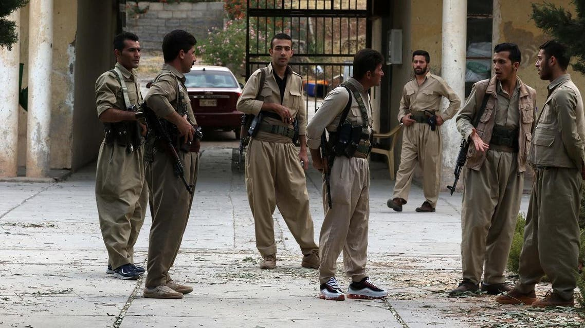 ranian Kurdish Peshmerga, members of the Iranian Kurdistan Democratic Party (KDP-Iran), take part in routine military exercise in Koya, 100 kms east of Arbil (AFP)