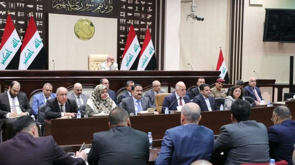 Prime Minister Haider Abadi and other ministers attend an extraordinary meeting of the Iraqi Council of Representatives held on Saturday. (Supplied)