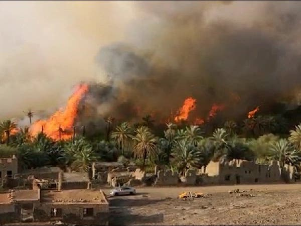 شاهد النيران تلتهم نخيل خيبر.. والدفاع المدني يوضح